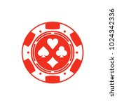 red casino chip isolated on... | Shutterstock .eps vector #1024342336