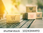 online shopping   ecommerce and ... | Shutterstock . vector #1024344493