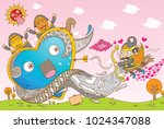 puppet man shooting with arrow... | Shutterstock .eps vector #1024347088