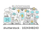 Blockchain technology process concept vector illustration. Thin line flat style design element for web banners and printed materials.