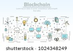 Blockchain technology advertising vector illustration. Blockchain for business ad concept. Thin line flat style design element for web banners and printed materials.