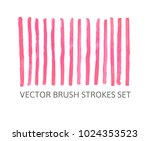 vector brush strokes set.... | Shutterstock .eps vector #1024353523