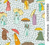seamless pattern with rainy... | Shutterstock .eps vector #1024355080