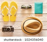 travel and beach items flat lay ... | Shutterstock . vector #1024356040