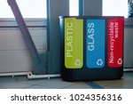 modern bins to collect plastic  ... | Shutterstock . vector #1024356316