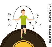 sport man jumping rope with... | Shutterstock .eps vector #1024361464