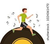 sport man running vinyl disk... | Shutterstock .eps vector #1024361470