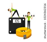 athletic women sport with... | Shutterstock .eps vector #1024362316
