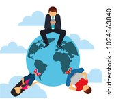 people sitting around world... | Shutterstock .eps vector #1024363840
