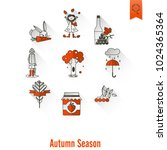 set of flat autumn icons.... | Shutterstock .eps vector #1024365364