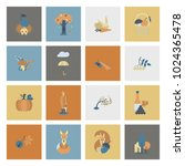 set of flat autumn icons.... | Shutterstock .eps vector #1024365478
