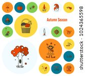 set of flat autumn icons.... | Shutterstock .eps vector #1024365598