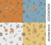 autumn seamless pattern. four... | Shutterstock .eps vector #1024365604