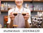 asian barista woman making... | Shutterstock . vector #1024366120