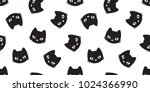 Stock vector cat vector seamless pattern halloween isolated wallpaper background cartoon 1024366990