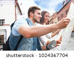 young couple with scooter... | Shutterstock . vector #1024367704