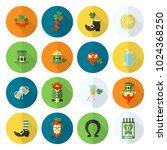 saint patricks day icon set.... | Shutterstock .eps vector #1024368250