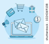 email marketing and promotion...   Shutterstock .eps vector #1024369108