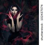 Beautiful Woman In Black Hood...