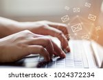 closeup woman hand using laptop ... | Shutterstock . vector #1024372234