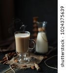 hot coffe with  almond milk | Shutterstock . vector #1024375639