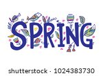 spring sale background with... | Shutterstock .eps vector #1024383730