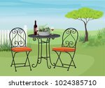 relaxing garden lawn with a... | Shutterstock .eps vector #1024385710