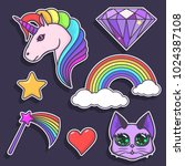 a set of stickers with a... | Shutterstock .eps vector #1024387108