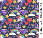 seamless magical pattern with a ... | Shutterstock .eps vector #1024387114