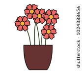cute vase with flowers... | Shutterstock .eps vector #1024388656