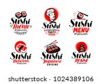 sashimi  sushi  logo or label... | Shutterstock .eps vector #1024389106