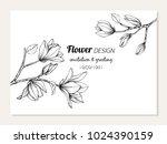 magnolia flower frame drawing ... | Shutterstock .eps vector #1024390159