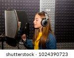 girl in a recording studio | Shutterstock . vector #1024390723