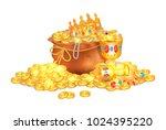 old sack full of shiny royal... | Shutterstock .eps vector #1024395220