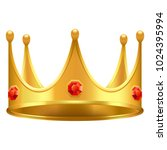 golden crown with gems 3d icon. ... | Shutterstock .eps vector #1024395994