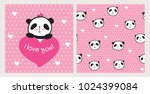 Stock vector set of greeting card and seamless pattern with hand drawn cute pandas and hearts for valentine s 1024399084