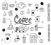 set of coffee accessories doodle | Shutterstock .eps vector #1024420780