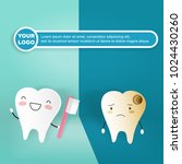 tooth with decay concept on the ... | Shutterstock .eps vector #1024430260