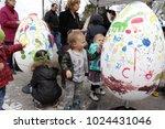 Kids Paint Big Decorative Eggs...