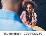 cheerful trendy dressed woman... | Shutterstock . vector #1024433260