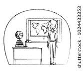 female teacher in geography... | Shutterstock .eps vector #1024433353