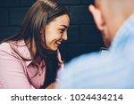 cheerful brunette hipster girl... | Shutterstock . vector #1024434214