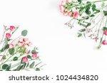 flowers composition. frame made ...   Shutterstock . vector #1024434820