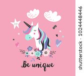cute unicorn greeting card.... | Shutterstock .eps vector #1024448446