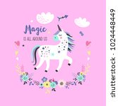cute unicorn greeting card.... | Shutterstock .eps vector #1024448449