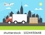 delivery van with shadow and... | Shutterstock .eps vector #1024450648