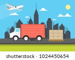 delivery van with shadow and... | Shutterstock .eps vector #1024450654