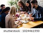 happy young friends hangout in... | Shutterstock . vector #1024461550