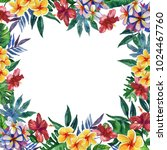 hand drawn tropical watercolor...   Shutterstock . vector #1024467760