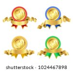 set of retro golden award with... | Shutterstock .eps vector #1024467898